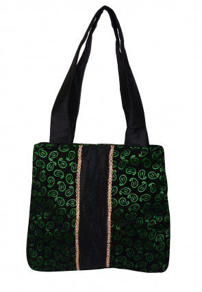 Printed Velvet Hand Bag in Black