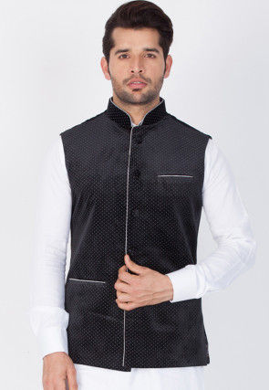Printed Velvet Nehru Jacket in Black