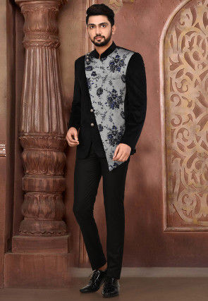 Printed Velvet Suit Set in Black