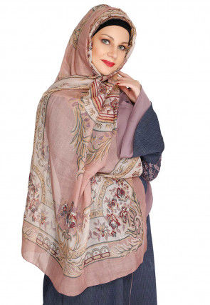 Printed Viscose Cotton Hijab in Dusty Pink and Off White