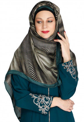 Printed Viscose Cotton Hijab in Green and Black