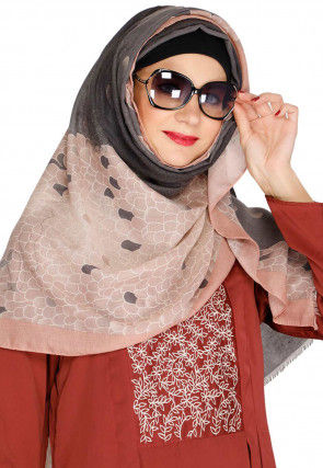 Printed Viscose Cotton Hijab in Grey and Light Peach