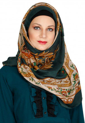 Printed Viscose Cotton Hijab in Light Beige and Dark Green