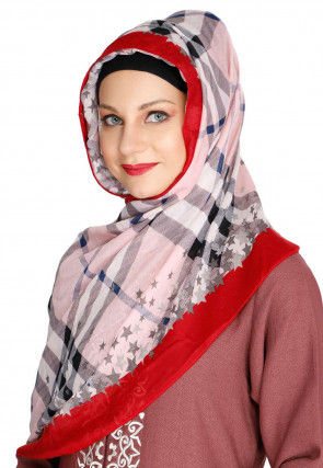 Printed Viscose Cotton Hijab in Light Pink and Red