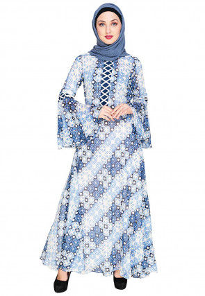 Printed Viscose Georgette Closed Abaya in Off White and Blue