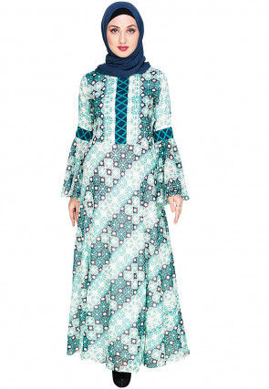 Printed Viscose Georgette Closed Abaya in Off White and Green