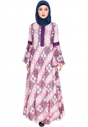 Printed Viscose Georgette Closed Abaya in Off White and Pink