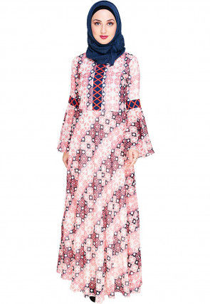 Printed Viscose Georgette Closed Abaya in Off White and Red