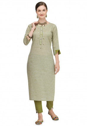 Printed Viscose Kurta with Pant in Light Olive Green