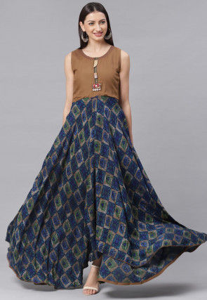 Printed Viscose Rayon Asymmetric Dress in Navy Blue and Beige