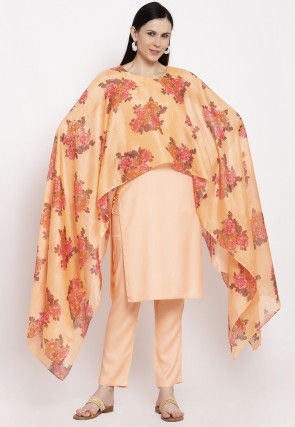 Printed Viscose Rayon Cape Style Kurta Set in Peach
