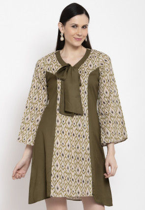 Printed Viscose Rayon Dress in Beige and Olive Green