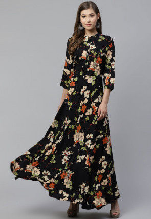 Printed Viscose Rayon Gown in Black