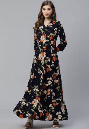Printed Viscose Rayon Gown in Dark Blue