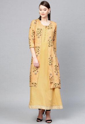 Printed Viscose Rayon Jacket Style Kurta in Beige