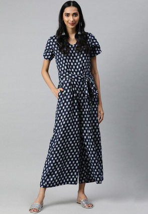 Printed Viscose Rayon Jumpsuit in Navy Blue