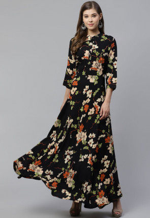 Printed Viscose Rayon Maxi Dress in Black
