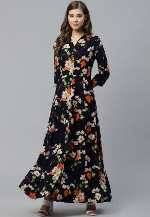 Printed Viscose Rayon Maxi Dress in Navy Blue