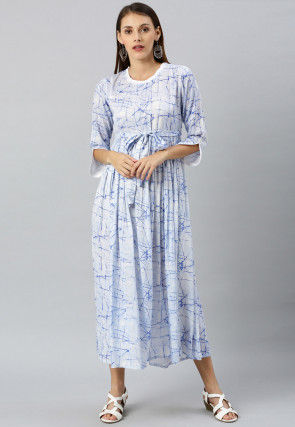 Printed Viscose Rayon Maxi Dress in Sky Blue