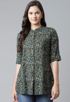 Printed Viscose Rayon Shirt in Black
