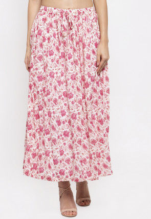 Printed Viscose Rayon Skirt in Pink and Off White
