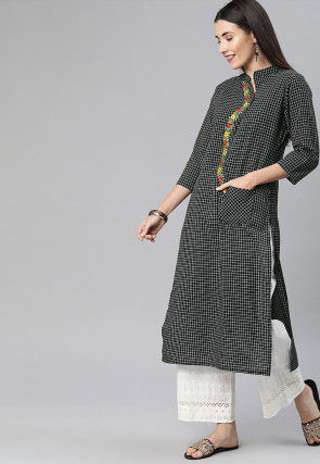 Printed Viscose Rayon Straight Kurta in Black