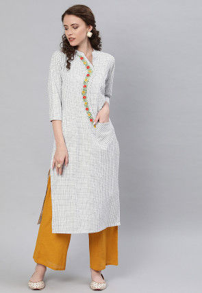 Printed Viscose Rayon Straight Kurta in White