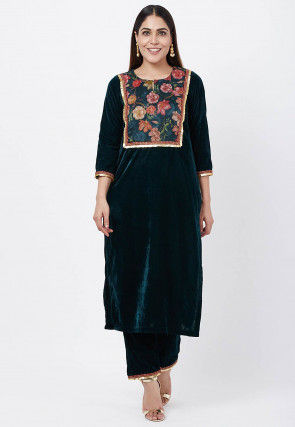 Printed Yoke Velvet Kurta with Palazzo in Dark Teal Green