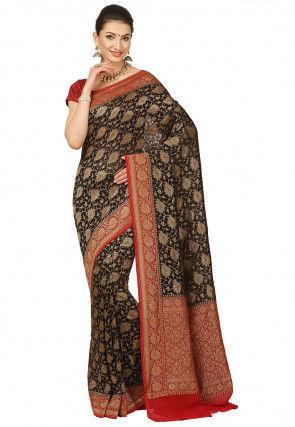 Pure Banarasi Georgette Silk Saree in Black