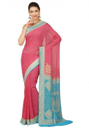 Pure Banarasi Georgette Silk Saree in Coral Pink