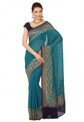 Pure Banarasi Georgette Silk Saree in Teal Blue