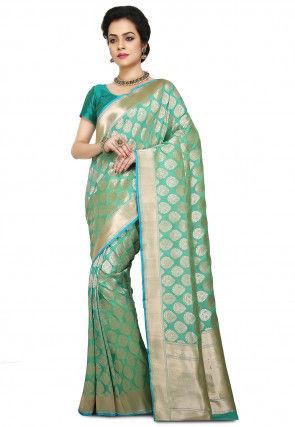 Pure Banarasi Handloom Silk Saree in Pastel Green