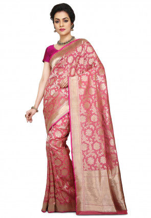 df1eddf82c4 Pure Banarasi Handloom Silk Saree in Pink