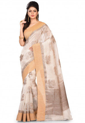 Pure Banarasi Matka Silk Saree in Off White