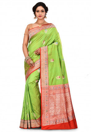 Pure Banarasi Silk Handloom Saree in Light Green
