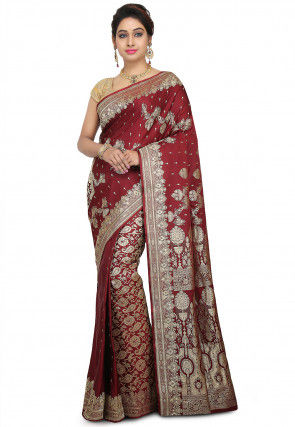Pure Banarasi Silk Handloom Saree in Maroon