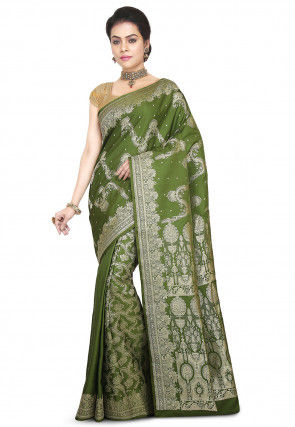 Pure Banarasi Silk Handloom Saree in Olive Green