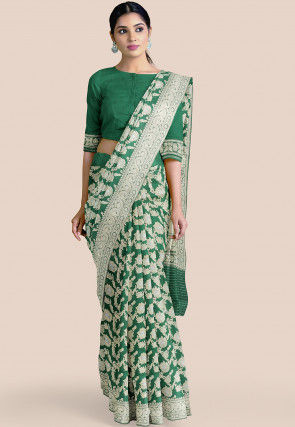 Pure Banarasi Silk Saree in Dark Green