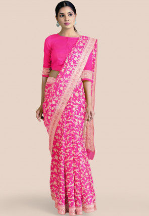 Pure Banarasi Silk Saree in Fuchsia