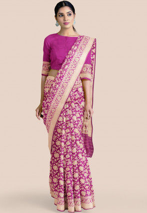 Pure Banarasi Silk Saree in Magenta