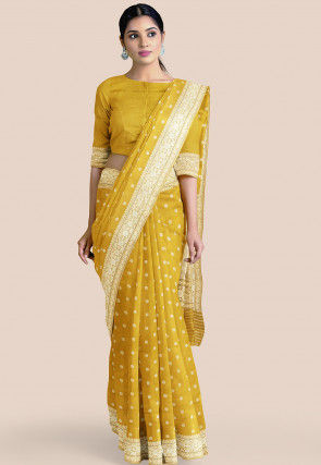 Pure Banarasi Silk Saree in Mustard