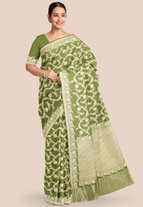 Pure Banarasi Silk Saree in Olive Green