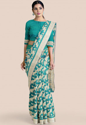 Pure Banarasi Silk Saree in Teal Blue