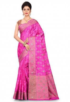 Pure Banarasi Tussar Silk Saree in Fuchsia