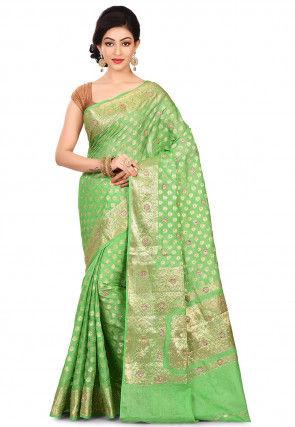Pure Banarasi Tussar Silk Saree in Light Green