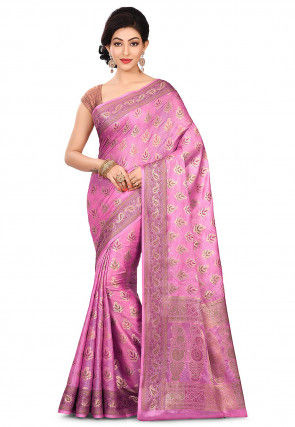 Pure Banarasi Tussar Silk Saree in Pink