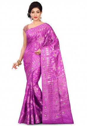 Pure Banarasi Tussar Silk Saree in Purple