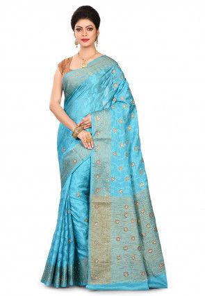 Pure Banarasi Tussar Silk Saree in Sky Blue