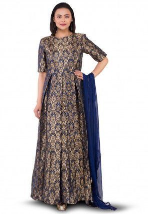 Pure Brocade Silk Abaya Style Suit in Navy Blue