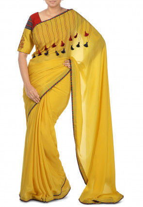 Pure Chanderi silk Contrast Bordered Saree in Yellow